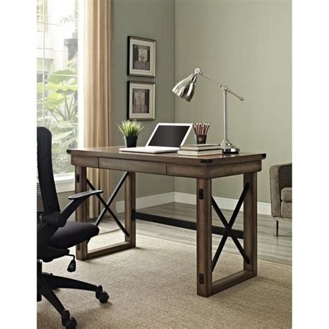 rustic home office desk altra furniture wildwood rustic w metal frame home office
