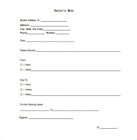 medical doctor note template 9 free sle exle