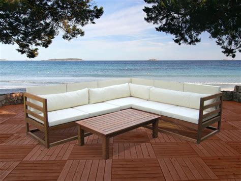 salon de jardin bali salon de jardin en bois d eucalyptus 5 places et une table basse madura ii