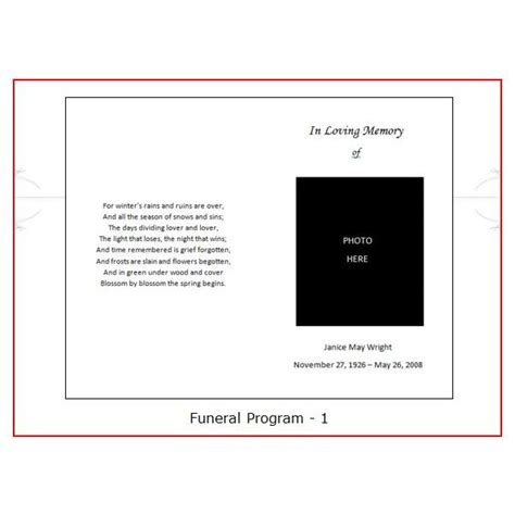 program card template funeral program template helloalive