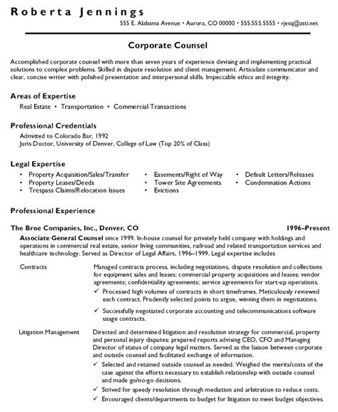sle cover letter for resume general counsel position