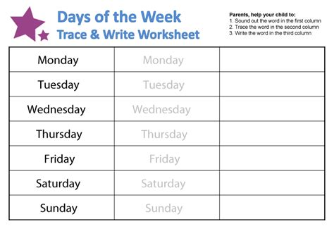 Days Of The Week Worksheet by Days Of The Week Worksheets Guruparents