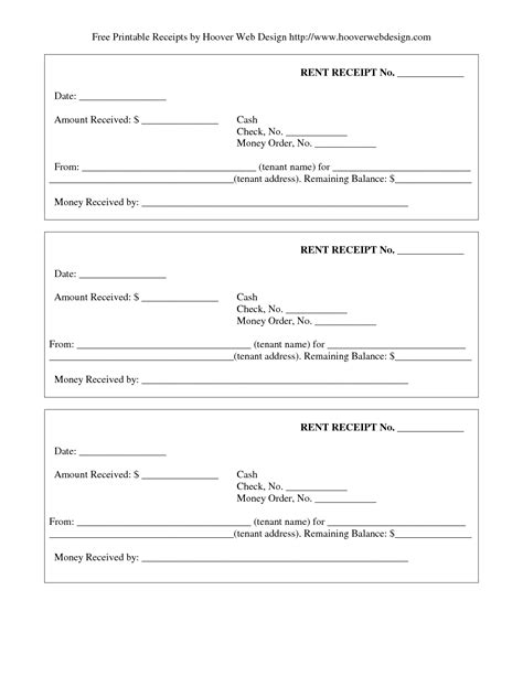 11 best images of free printable payment receipt form