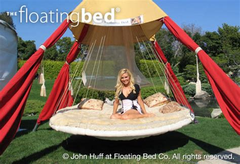outdoor floating bed girl on outdoor bed