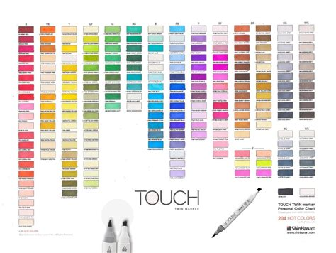 touch color shinhan supplies marker color charts downloads at