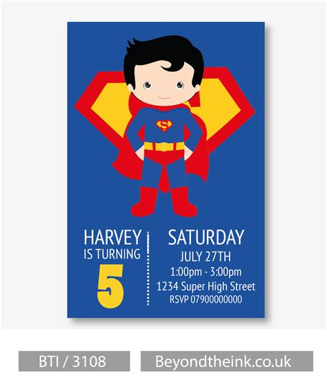 superman card template personalised superman invitations printed on professional