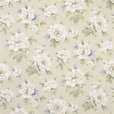 Wisley Natural Floral Linen Cotton Curtain Fabric At Laura