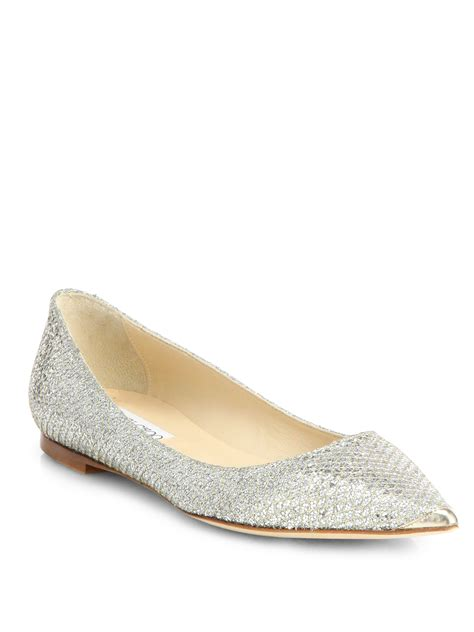 glitter shoes flats lyst jimmy choo alina glitter point toe ballet flats in