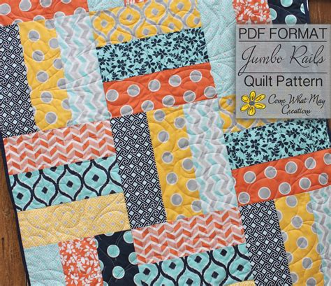 free printable strip quilt patterns baby quilt pattern lap quilt pattern jumbo rails baby