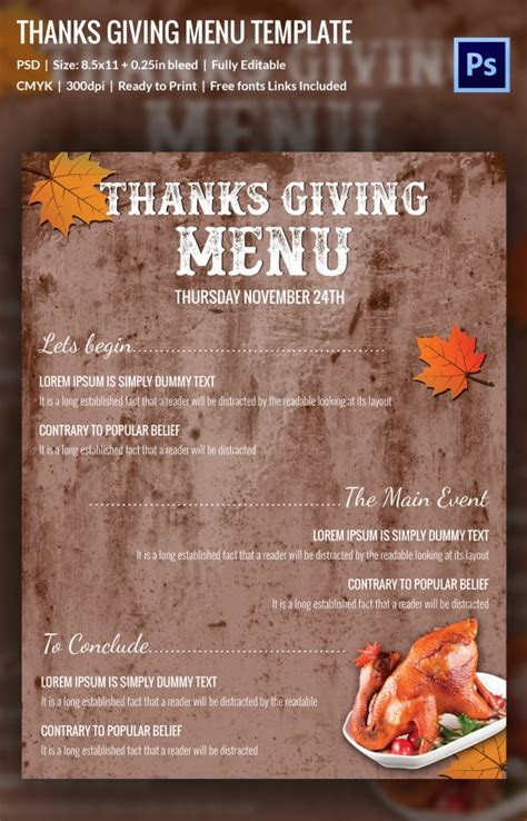 25 Thanksgiving Menu Templates Free Sle Exle Format Download Free Premium Templates Menu Template For Thanksgiving