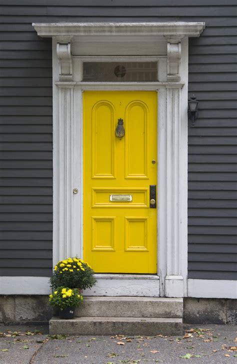 gray house yellow door yellow door random goodness pinterest