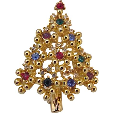 vintage eisenberg christmas tree pin brooch from