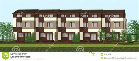 multiplex house multiplex family house render stock illustration image