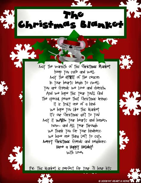 quot the christmas blanket quot poem to give with a blanket