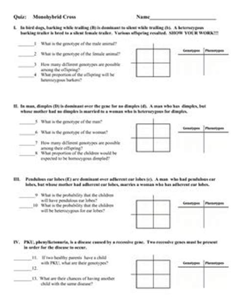 Genetics Practice Problems 3 Monohybrid Problems Worksheet 1 Answers by Quizes Genetics And Homework On