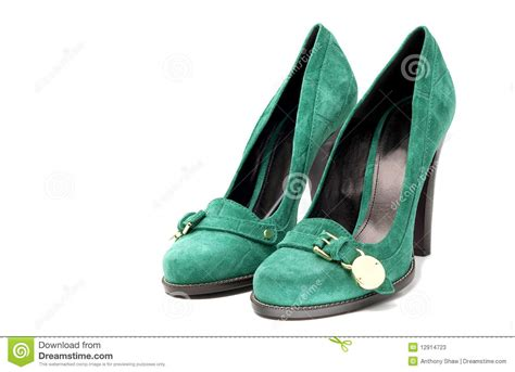 s green suede high heel shoes stock photos image