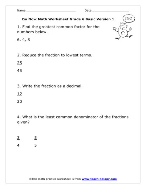 Investing Math Worksheet by Do Now Math Grade 6 Basic Version 1