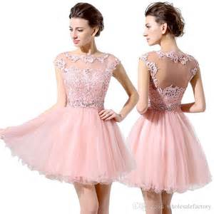 cute pink short prom dresses cheap a line mini tulle lace