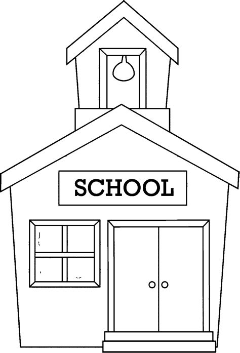 coloring page of a school building coloring home