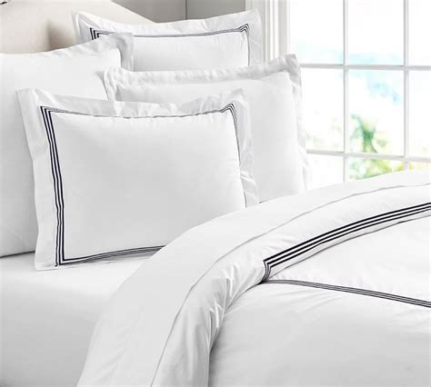 white duvet cover with blue trim sweetgalas