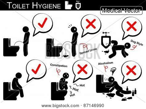how to use the bathroom when constipated toilet hygiene stick man vector poster id 87146990