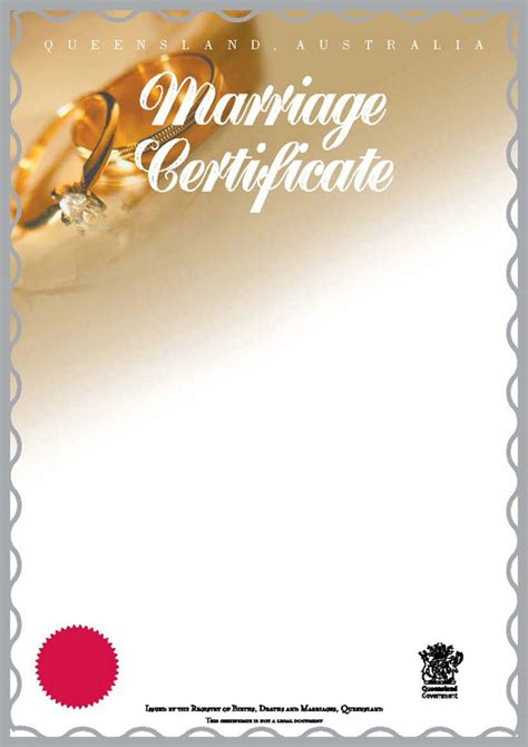 Queensland Marriage Records Marriage Certificate Commemorative Marriage Certificate