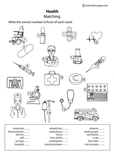 Health Worksheets by At The Doctor Stake The Pen