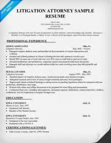 Attorney Resume Exles litigation attorney resume sle by the for the pi