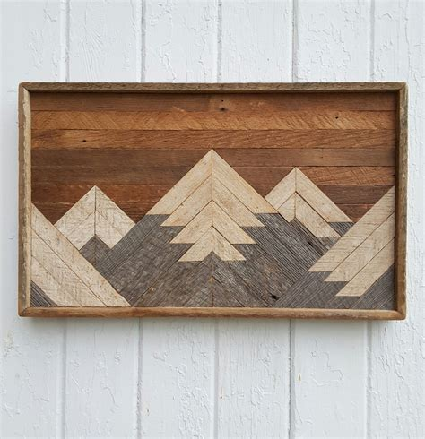 Past Reclaimed Wood Wall Art Small Mountain Range Lodge Wooden Wall Decoration