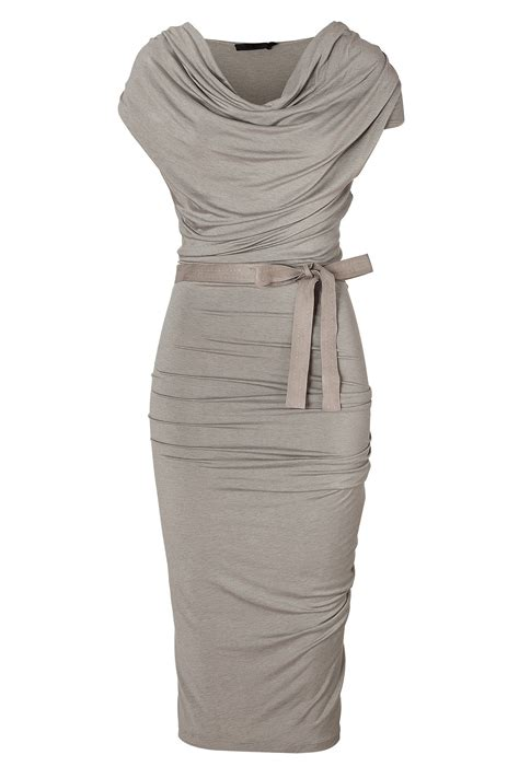New Kaftancleopatra Chiffon Satin 8 spandex glamorous gray hemp draped jersey dress with belt