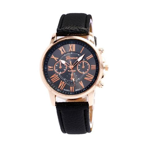 Jam Tangan Geneva Flower White harga geneva jam tangan pria hitam faux leather
