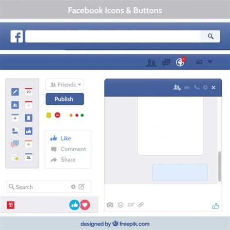 facebook layout template vector facebook icons and buttons vector free download