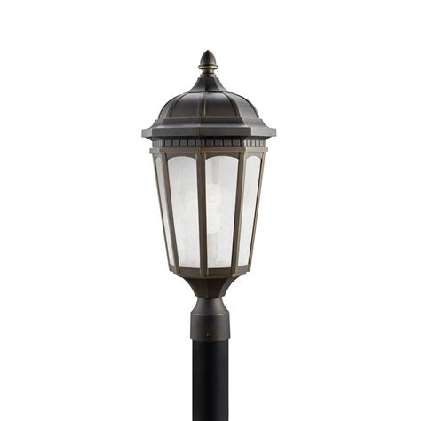 Post Lights Lowes by Shop Kichler Lighting Courtyard 23 75 In H Rubbed Bronze
