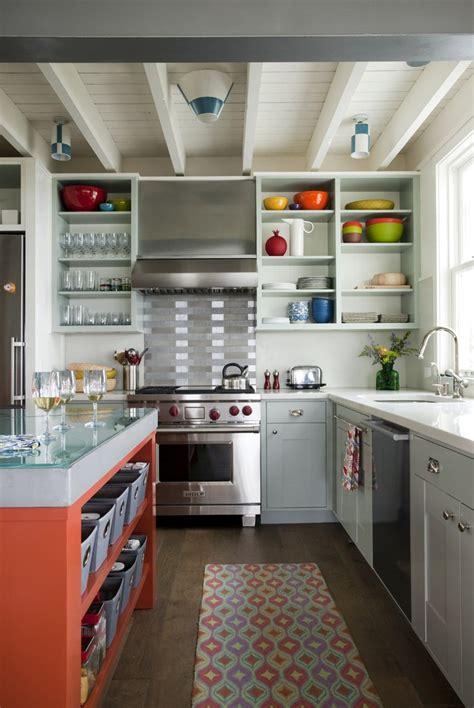 modern kitchen with red accent backsplash and island decoist colorful kitchen red island rug backsplash retro better