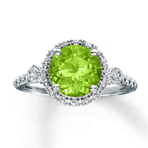 jared peridot ring lab created sapphires sterling silver