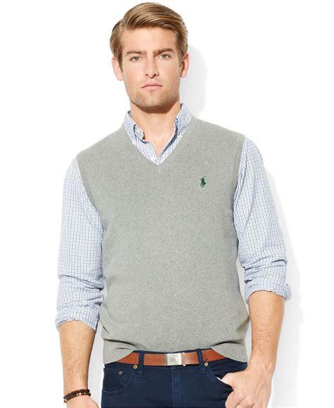 Rompi Vest Zipper Polos 12 lyst polo ralph pima cotton v neck vest in gray for