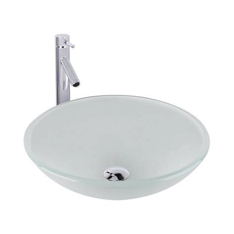 White Vessel Sink With Faucet by Vigo Glass Vessel Sink In White With Faucet Set In