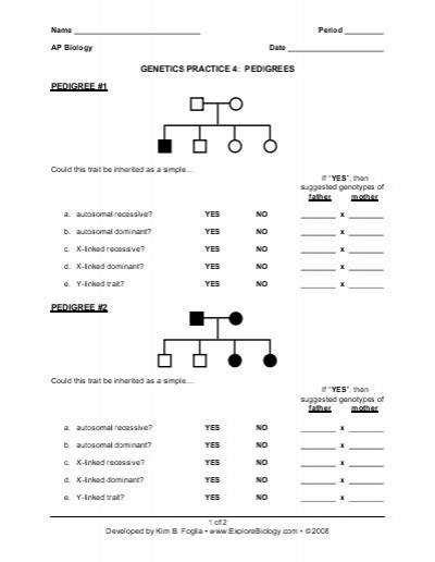 Pedigree Worksheet 1 Answers
