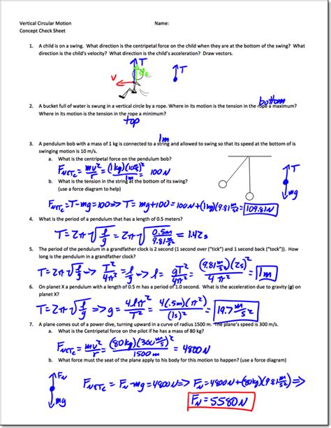 circular motion worksheet answers centripetal worksheet with answers