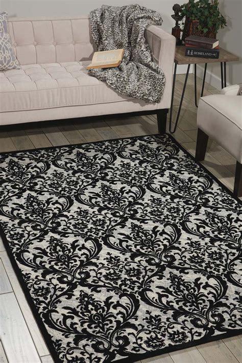black white damask rug nourison damask das02 black white rug
