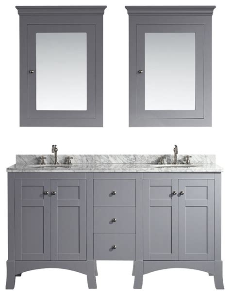 Grey Vanity Cabinet by Hton 60 Quot Bathroom Vanity Grey With Medicine Cabinets