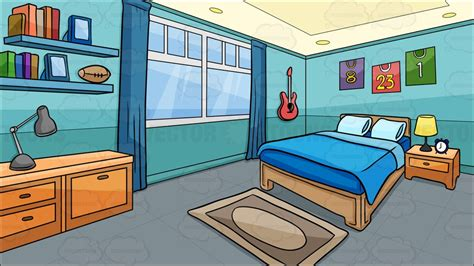 Picture Of A Bedroom bedroom of a boy background vector clip art cartoon