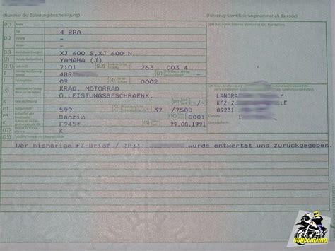 Motorrad Zulassung Teil 2 by 600ccm Info Eintragung Der Leistungs 228 Nderung In Die Papiere