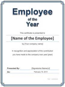 Employee Of The Year Certificate Template Free by Employee Award Cetificate Free Template For Word