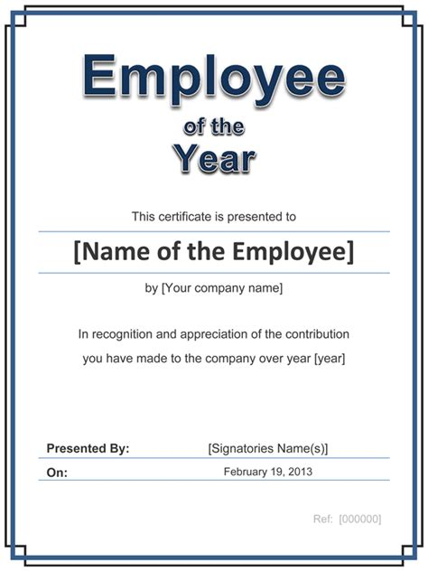 employee recognition card template certificate template for employee of the year with