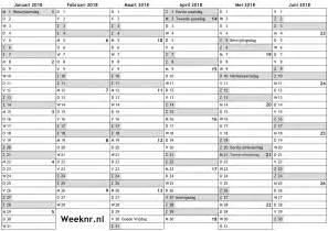 Netherlands Calendario 2018 Kalender Voor 2018 Met Weeknummers En Feestdagen