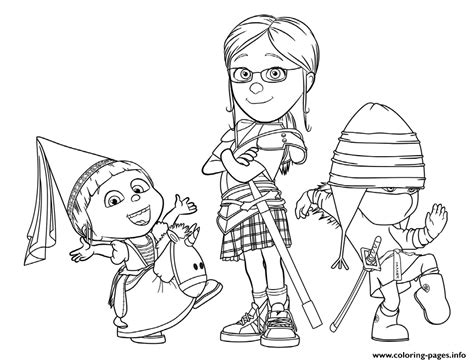 despicable me 3 the girls coloring pages printable