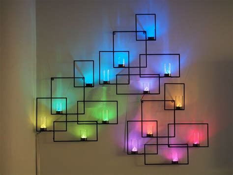 led light wall display wall sconces with weather display and tangible user