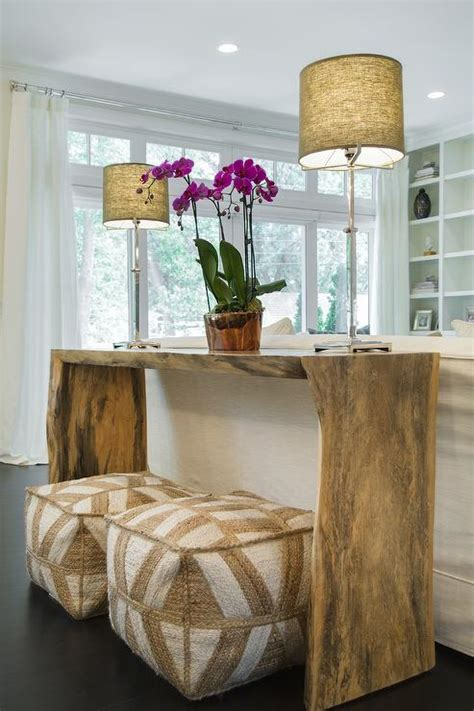 living room pouf live edge console table with beige poufs transitional living room