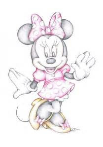 minnie mouse disney cartoon colour pencil drawing drawing